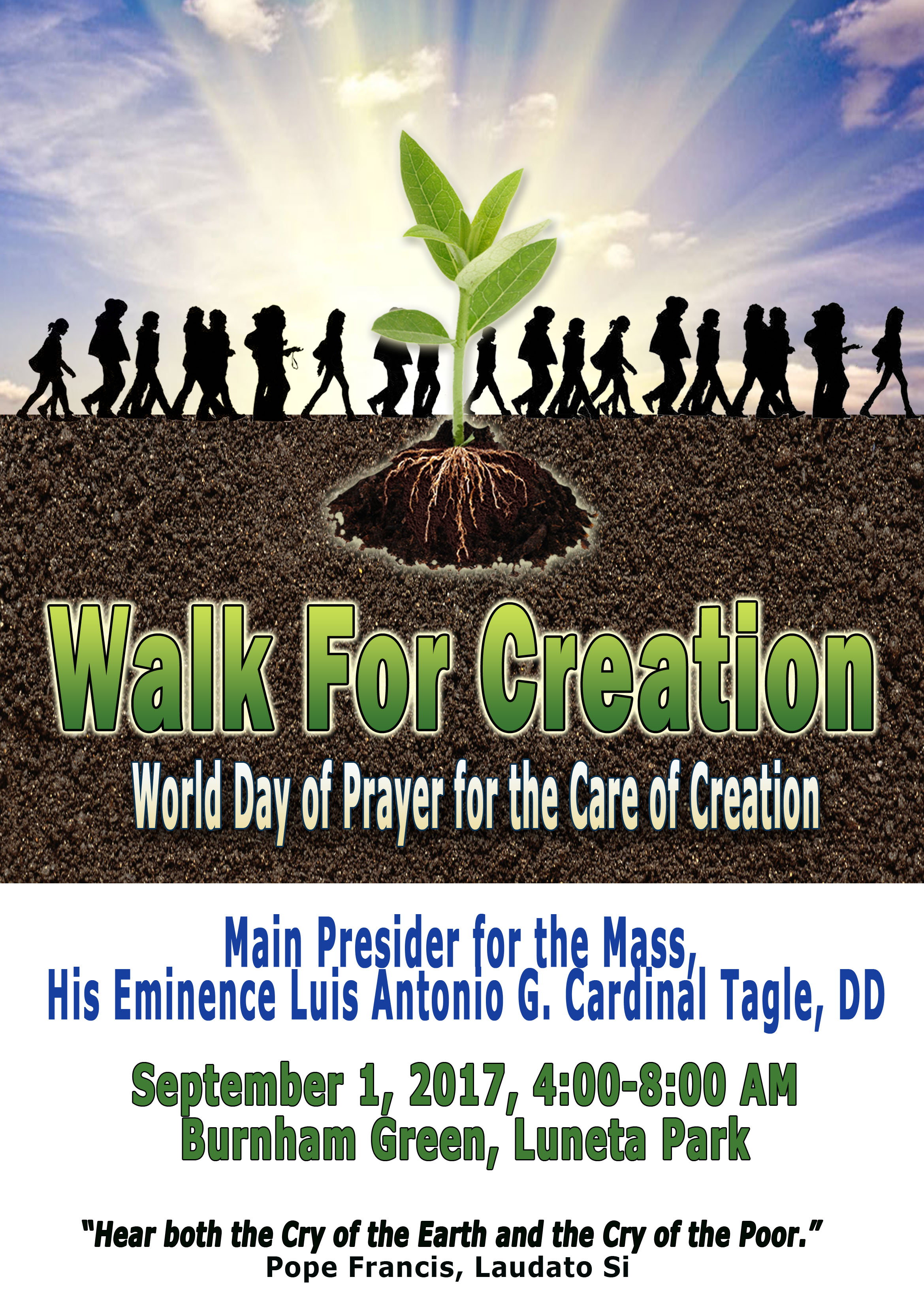 "GLOBAL CLIMATE CHANGE MOVEMENT-PILIPINAS ""WALK FOR CREATION"": SEPTEMBER 1, 2017"
